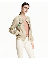H&M - Natural Linen Jacket - Lyst