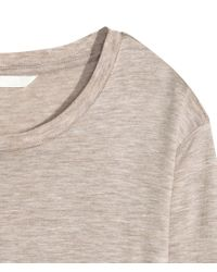 H&M - Natural Long-sleeved Lyocell Top - Lyst