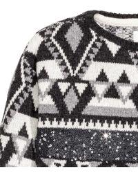 H&M | Black Jacquard-knit Jumper | Lyst
