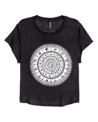 H&M - Black Cropped T-shirt - Lyst