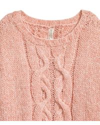 H&M | Pink Cable-knit Jumper | Lyst