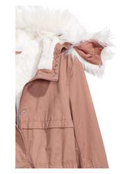 H&M Pink Pile-lined Parka