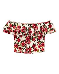 H&M   Red Off-the-shoulder Top   Lyst