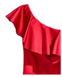 H&M Red One-shoulder Playsuit