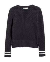 H&M | Blue Cable-knit Cotton Jumper | Lyst