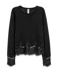 H&M   Black Jumper With Lace Details   Lyst