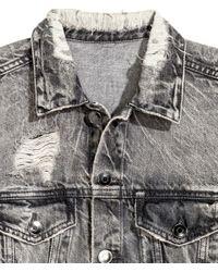 H&M Black Trashed Denim Jacket