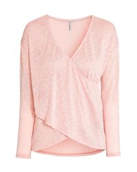 H&M - Pink Wrapover Jumper - Lyst