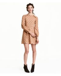 H&M | Natural Spotted Dress | Lyst