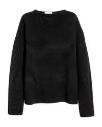 H&M | Black Textured-knit Jumper | Lyst