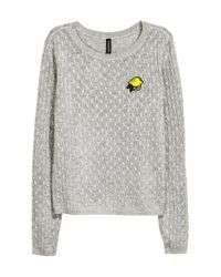 H&M | Gray Cable-knit Jumper | Lyst