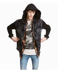 H&M - Black Hooded Denim Jacket for Men - Lyst