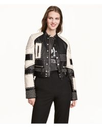 H&M - Black Leather Jacket With Studs - Lyst