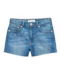 H&M - Blue Embroidered Denim Shorts - Lyst