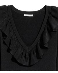 H&M - Black V-neck Jumper - Lyst