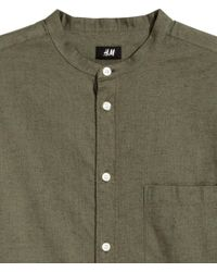H&M - Green Grandad Shirt Regular Fit for Men - Lyst