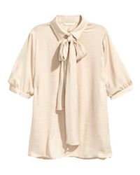 H&M   Natural Pussybow Blouse   Lyst