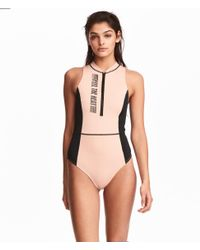 H&M - Multicolor Swimsuit With A Zip - Lyst