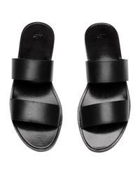 H&M - Black Leather Mules - Lyst