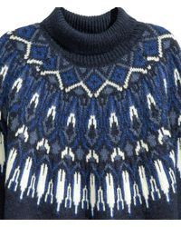 H&M | Blue Jacquard-knit Polo-neck Jumper | Lyst