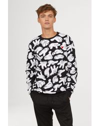 2341e30d H&M Sweatshirt With Printed Design in Black for Men - Lyst