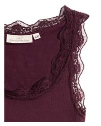 H&M - Purple Ribbed Vest Top With Lace - Lyst