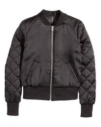 H&M - Black Short Satin Bomber Jacket - Lyst