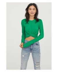 H&M - Green Short Jersey Top - Lyst