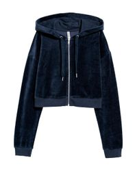 H&M Blue Cropped Hooded Velour Jacket