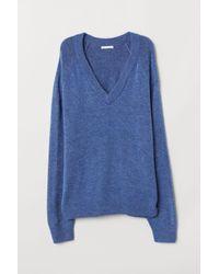 H&M - Blue V-neck Sweater - Lyst