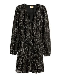 H&M - Black Glittery Wrap Dress - Lyst
