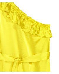 H&M - Yellow Asymmetric Flounced Dress - Lyst