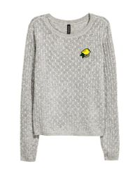 H&M - Gray Cable-knit Jumper - Lyst