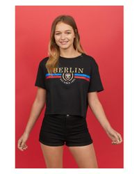 H&M - Black Cropped T-shirt - Lyst