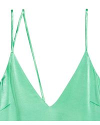 H&M - Green Asymmetric Satin Top - Lyst