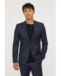 ad94d4216b41 H&M Slim Fit Melange Wool Blazer in Blue for Men - Lyst