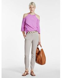 Halston | Pink Hammered Silk Cold Shoulder Top | Lyst