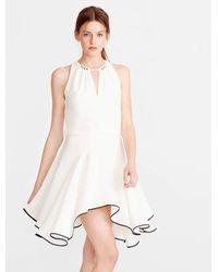 Halston | White Colorblocked Flounce Crepe Dress | Lyst
