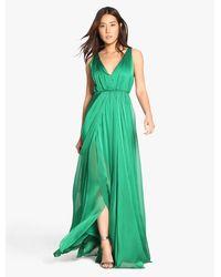 Halston | Green Iridescent Chiffon Gown | Lyst