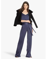 Halston | Black Detachable Fur Collar Coat | Lyst
