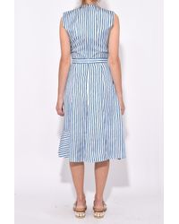 Carven - Blue Ruffled Asymmetric Dress In Blanc/bleu - Lyst