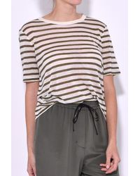 T By Alexander Wang - Multicolor Stripe Cropped Tee In Cream/military - Lyst