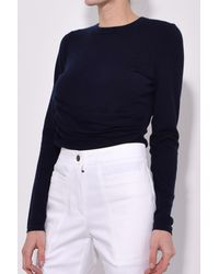 Derek Lam - Blue Long Sleeve Top With Gathered Side Detail In Navy - Lyst