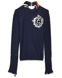 Co. | Blue Embroidery Ottoman Pullover In Marine Fonce | Lyst