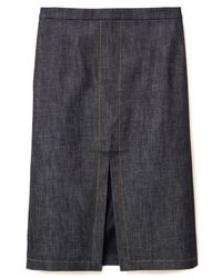 Co. - Blue Pencil Skirt With Front Slit In Indigo - Lyst