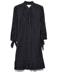 10 Crosby Derek Lam - Long Sleeve Shirtdress With Ties In Black - Lyst