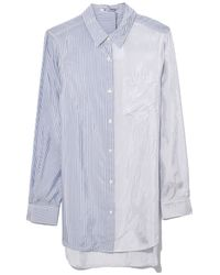 T By Alexander Wang - White Shiny Striped Shirting Button Down In Ivory Cloud/grey Stripe - Lyst