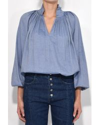 Tibi - Chambray Edwardian Top In Blue - Lyst