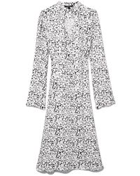 Co. - Scarf Neck Dress With Pleats In Black/white - Lyst
