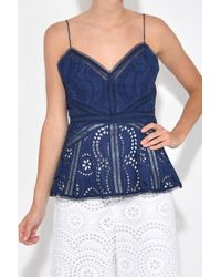 Zimmermann - Blue Paradiso Embroidered Cami In Navy - Lyst